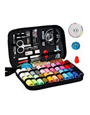 Sewing Kit Art Craft, DIY Handmade Sewing Thread and Repair Kit Supplies Full of 125 Essential Tools in Zip Box Include Scissors, Thimble, Colorful Threads, Needles, Tape Measure, Tweezers