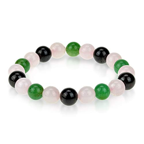 - Triple Stone Ultimate Love Bracelet - Unconditional Love - Romance and Love Bracelet - Rose Quartz - Red Garnet - Green Aventurine - Natural Semi-Precious Gemstone Beaded Stretch Bracelet (10mm)