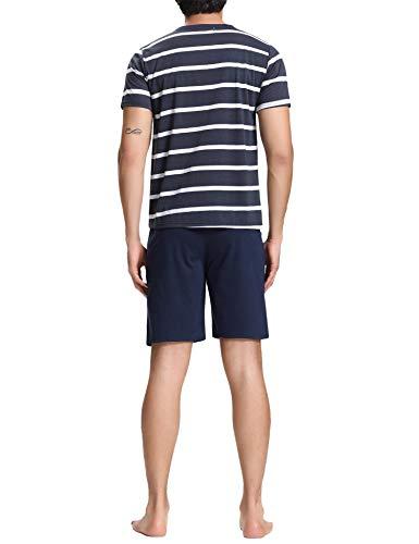 Coton shirt Pcs Aibrou Top Courte Manches Pantalon Ensemble Foncé De Avec T Hommes En 2 Pyjama 2 Bleu q0qUSX