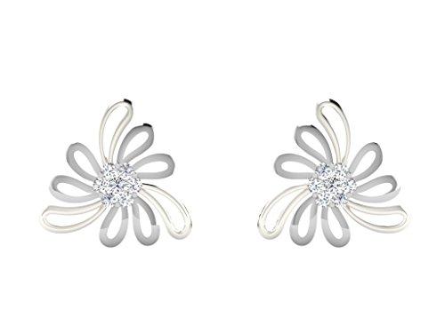 Libertini Boucle d'oreille argent 925 serti de Diamant