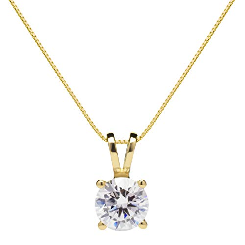 14K Solid Yellow Gold Pendant Necklace | Round Cut Cubic Zirconia Solitaire | 1.0 Carat | 16 Inch .60mm Box Link Chain | With Gift Box