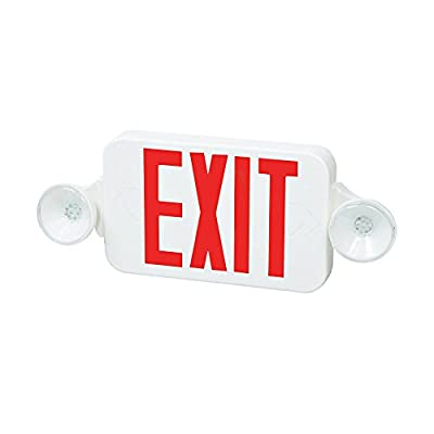 Fulham FHEC30WR Firehorse Emergency Exit Light/Sign Combo- Micro Led, White with Red Lettering