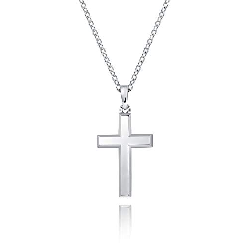(MONBO Cool Cross Pendant Long Necklace Classic High Polish Sterling Silver Cross Pendant Necklace for Men/Women)