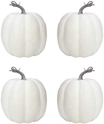 vensovo 6 Inch Large White Pumpkins for Decorating – 4PCS Big White Foam Decorative Pumpkins for Fall Decor, White Paintable Artificial Pumpkins Perfect for Halloween Decor Thanksgiving Table Decor
