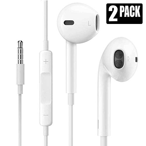 2Pack 3.5mm Earphones/Earbuds/Headphones Stereo Mic&Remote Control Compatible with Galaxy More Android Smartphones(White) ...