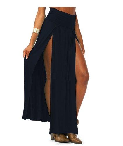 WIIPU womens Trends High Waisted Double Slits Sexy Women Maxi Skirt(J462) (black)
