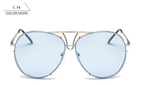 de de mujer sol sol azul azul gafas claro ZHANGYUSEN bastidor Señoras piloto sobredimensionado gafas grande claro mujeres sin para nuevo reborde Plata plata g1w1YO86q