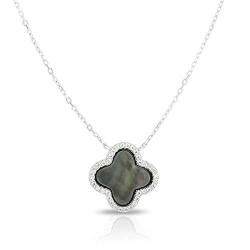 Van Cleef And Arpels Jewellery - Unique Royal Jewelry Sterling Silver and Cubic Zirconia Four leaf Clover Adjustable Length Necklace. (Natural Silver)