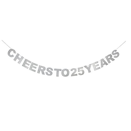 waway Cheers To 25 Birthday Banner Silver Glitter Heart For 25th Anniversary 25 Years Old Birthday Party Decoration Supplies -