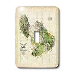 1885 Map (3dRose LLC lsp_100516_1 Picture of 1885 Map of Maui Hawaii Single Toggle Switch)