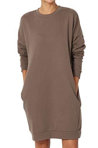 TheMogan Women's Casual Crew Neck Pocket Loose Sweatshirt Tunic Mocha ()