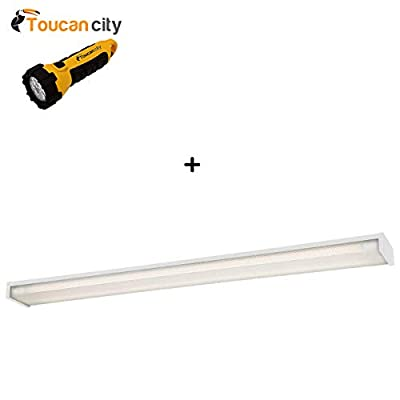 Toucan City LED Flashlight and EnviroLite 4 ft. x 5 in. 2-Light White LED Slim Flushmount MV Wraparound Light with T8 LED 5000K Tubes W102T1850