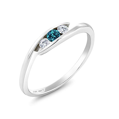18K White Gold Solitaire Ring Round London Blue Topaz and Forever Classic Created Moissanite 0.12ct (DEW) by Charles & Colvard (Size 6)