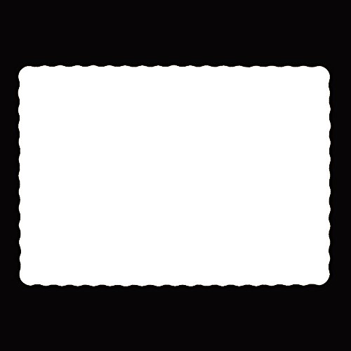 Disposable Paper Placemats 10 x14 white Pack Of 100. 20 Pound Bond Paper Scalloped Edge (Paper Place Mats)