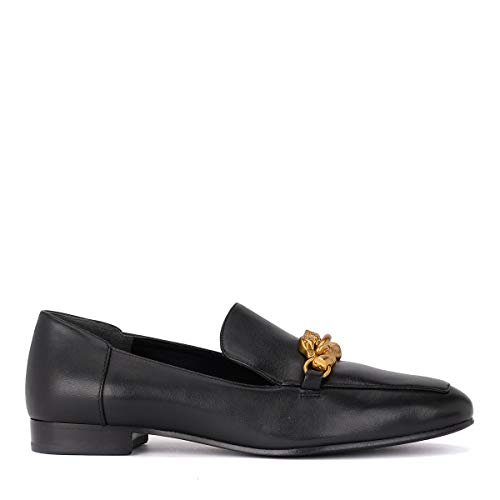 (Tory Burch Women's Black Leather Jessa Loafer Gold Buckle (10 M US))
