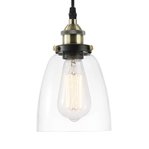 - Light Society Camberly Mini Pendant Light, Clear Glass Shade with Antique Brass Finish, Vintage Modern Industrial Farmhouse Lighting Fixture (LS-C109)