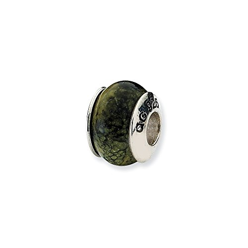 - 925 Sterling Silver Charm For Bracelet Russian Serpentine Stone Bead From The Earth Fine Jewelry Gifts For Women For Her