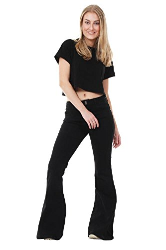 Coupe Glamour Flare Large Evase Outfitters et Femme Noir Jean H7AB4