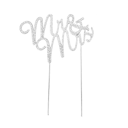 yueton Crystal Rhinestone Cake Topper Wedding Monogram Mr & Mrs Cake Decoration (Traditional Wedding Cake Toppers Bride And Groom)