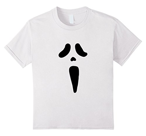 [Kids Scary Ghost Face Halloween Costume Tee Ghoul Outfit - White 12 White] (Scream Classic Ghost Face Child Costumes)