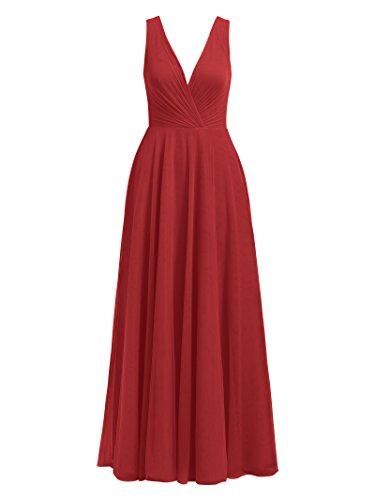Tulle Sans Manches Alicepub Robes De Demoiselle D'honneur Longue Soirée Tango Robe Maxi Robe De Soirée Rouge