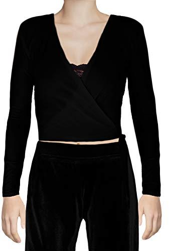 Ooh La La Ballet Dance Inspired Long Sleeve Wrap Tie Sweater (Medium 34-35, Black)
