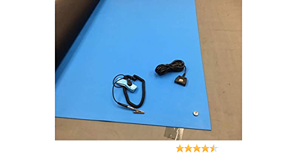 0.08 Thick 2x 5 with Ground Cable-Blue Rubber ESD Anti-Static HIGH Temperature Soldering MAT-24 X 60