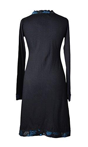 Mesdames manches longues col V robe avec de la broderie -PANSY