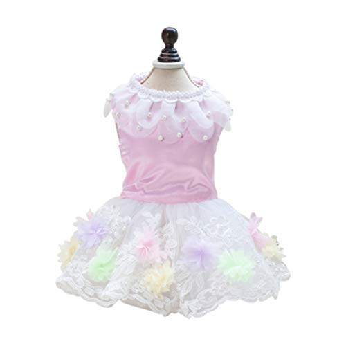 LVYING Summer Breathable Dog Dress Clothes Wedding Skirt Bowknot Mesh Paillette Puppy Cat Dresses Pet Costume