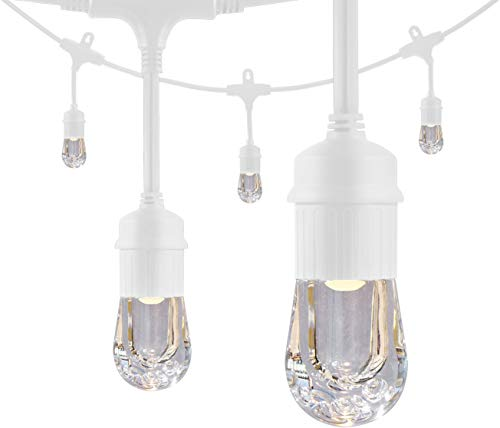 Enbrighten Classic LED Cafe String Lights, White, 48 Foot Length, 24 Impact Resistant Lifetime Bulbs, Premium, Shatterproof, Weatherproof, Indoor/Outdoor, Commercial Grade, Ul Listed, 35608