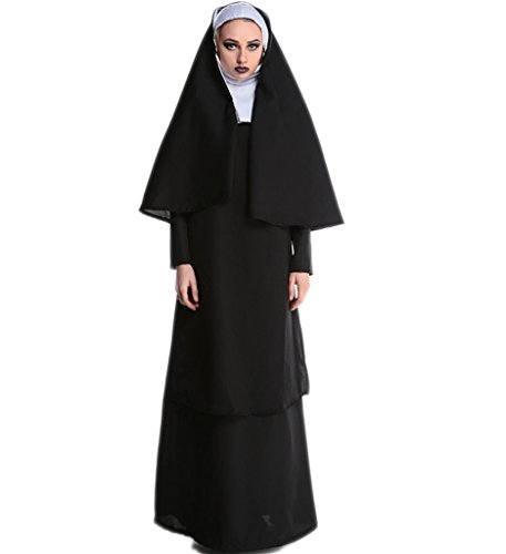 [Papaya Wear The Nun Costume Women Adult Halloween Costume Cosplay M] (Missionary Costumes)