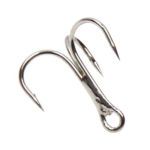 (Treble Fishing Hook Strong Round Bend Treble Hooks 100PCS-200PCS Wide Gap High Carbon Steel Hooks for Lures Baits Size 4#-14#)