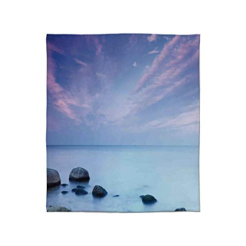 Ultra-Soft Flannel Blanket,Seaside Decor,for Bed Couch Chair,Size Throw/Twin/Queen/King,Baltic Sea Coast Autumn Sunset Evening ()