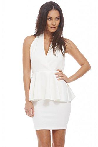 backless halter neck peplum dress - 2