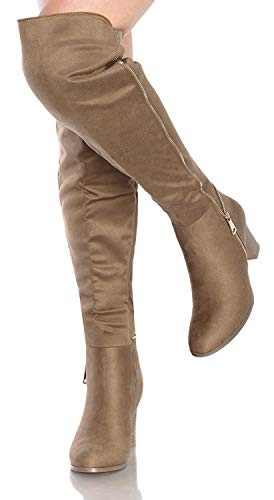 sed Toe High-Heels Solid Boots with Ornament Taupe ()