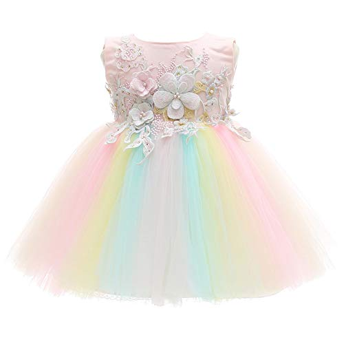 Meiqiduo Baby Girls Dress Infant Christening Birthday Wedding Bridesmaid Party Lace Tulle Flower Dresses (3M/0-6Months, Multicoloured)