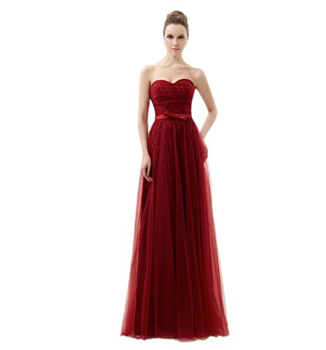 VogueZone009 Womens Sweetheart Tulle Formal Dresses with Bowknot and Lace, Red, 16 by VogueZone009