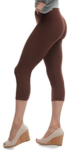 Lush Moda Extra Soft Capri Leggings - Variety of Colors - Brown, One Size fits Most (XS - XL)