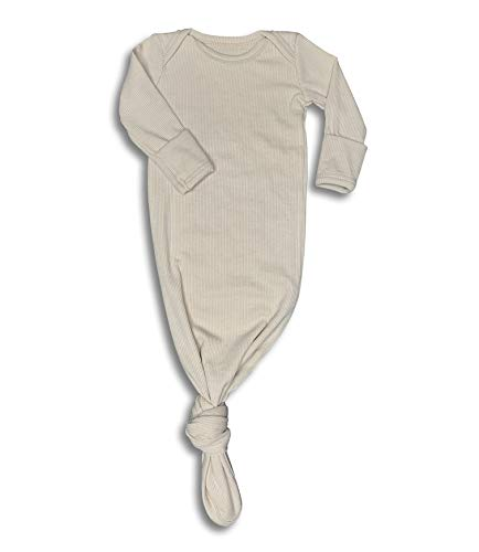 Baby Gown Newborn, Knotted Infant Sleeper for Baby Girl and Boy in a Canvas Bag (Ribbed Oatmeal, 3-6 ()