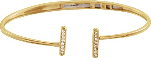 14K Yellow Gold 1/6 CTW Diamond Bar Hinged Cuff (Gold Diamond Cuff Bracelet)