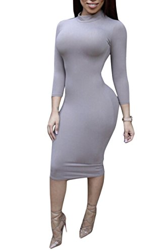 ALAIX Sleeve Women Long Grey Stretchy Turtleneck Pencil Bodycon Midi Dress Sexy Tight IxIHwBr
