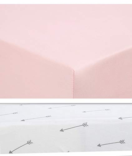 Stretchy Fitted Crib Sheets Set 2 Pack, Baby Mattress/Toddler Bed, Baby Girls, Baby Registry, Arrows, Pink, Grey, White, Ultra Soft Jersey Knit, fits Standard Crib Mattress and Toddler Bed