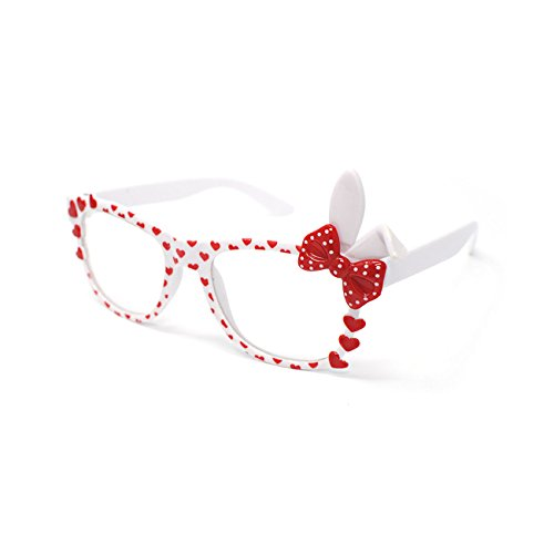 White with Red Bow Cute 3D Multi Color Clear Lens Bunny Heart Bow Frames Perfect for Costumes Parties Glasses Gift Nerds and - Ideas Up Nerd Dress Day