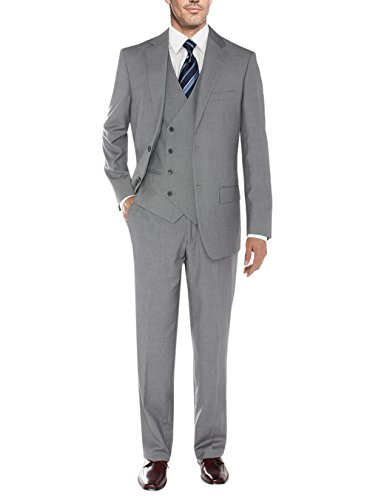Salvatore Exte Men's Vested Suit Three-Piece 2 Button Jacket Flat Front Pants (42 Short US / 52S EU / W 36