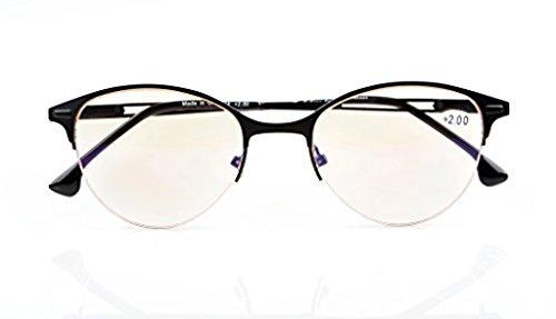 UV Protection,Anti Blue Rays,Reduce Eyestrain,Cat-eye Half-Rim Computer Reading Glasses(Black,Amber Tinted Lenses) +1.75 ()