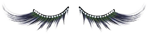 Zinkcolor Black Green Rhinestone False Eyelashes D331 Dance Halloween Costume (Green Eyelashes)