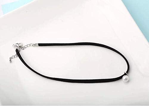 XAYN Collar de Cuerda Negro Perla S925 Collar de Cuerda de Plata esterlina con Cuentas Yuan Sufeng Star Modelos Collar de Perlas Collarín Delgado