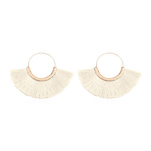 Bohemian Silky Thread Tassel Strand Fringe Statement Hoop Earrings - Lightweight Semi Circle Fan Threader Dangles (Halfmoon Tassel Hoops - Ivory) ()