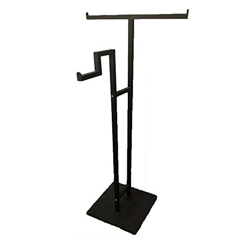 Coat Rack Coat Rack Stand,Coat Rack Coat Hat Stand Garment Rack, Simple Metal Floor-Standing Coat Rack, Double-Sided mid-Island Commercial Hanger Shop Display Stand,Black