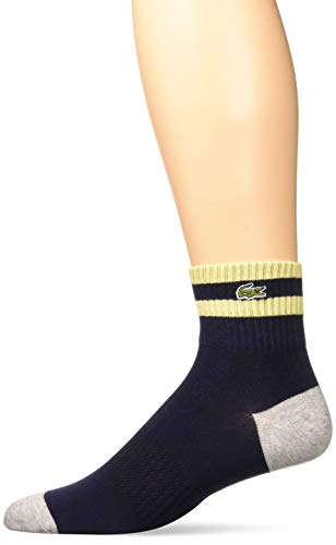 Lacoste Men's Jersey & Maille Sock, navy blue/silver chine/NAPOLITAN yellow, US 6-9 shoe (Shoes Yellow Lacoste)